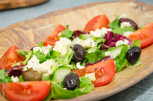 Fotografie, Obraz  Greek salad plate. Fresh vegetables greek salad