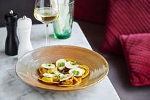 Gourmet Dish With Ostrich Ravioli