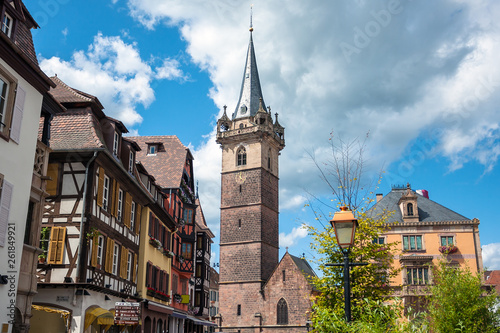 Fototapeta The Belfry tower (Kapellturm) in Obernai town center