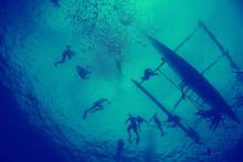 Coral Reef Vintage Toning / Unusual Landscape, Underwater Life, Ocean Nature