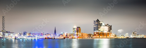 Cuadros en Lienzo Panorama of Hamburg at night