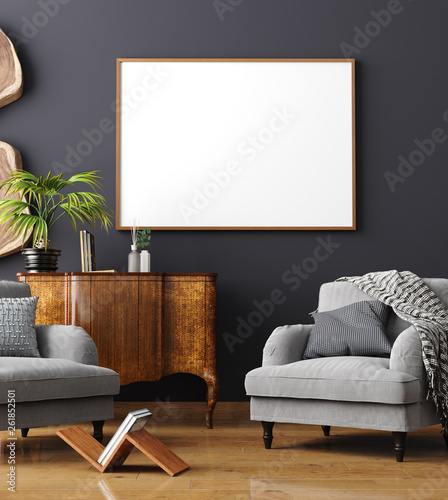 Mock up poster frame in home interior background, Scandinavian style, 3D render