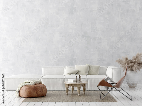 Valokuvatapetti Scandi-boho style home interior background, 3D render