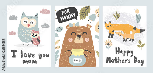 Mother's Day greeting cards collection. Cute animals prints. Vector illustration