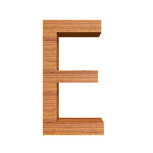 Capital Wooden Letter E Isolated On White Background, Font For Your Design, 3D Illustration