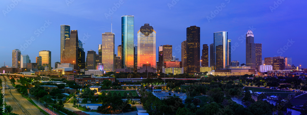 Fototapety, obrazy: City of Houston Skyline July 4th 2018 with dramatic sunset