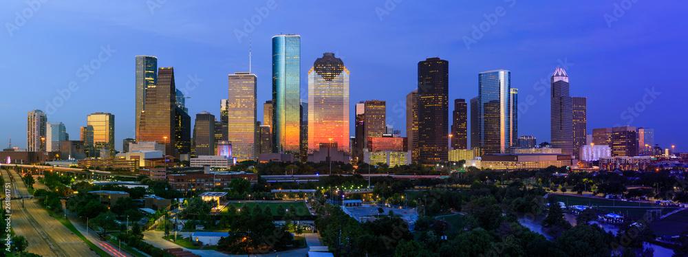 Fototapeta City of Houston Skyline July 4th 2018 with dramatic sunset