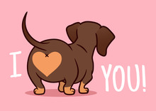 "Cutе Dachshund Puppy Dog Vector Cartoon Illustration Isolated On Pink Background. Funny ""I Love You"" Heart Sausage Dog Butt Design Element For Valentine's Day, Pets, Dog Lovers Theme."
