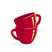 Stack Of Empty Red Cups, Vector Icons