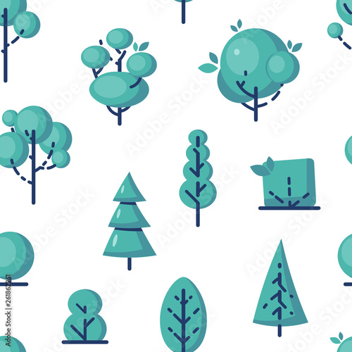 Wall Murals Birds in cages Simple vector tree icons in flat style