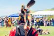 Leinwanddruck Bild - Male Pow Wow dancer in colorful outfits, Pow Wow, Malibu, California