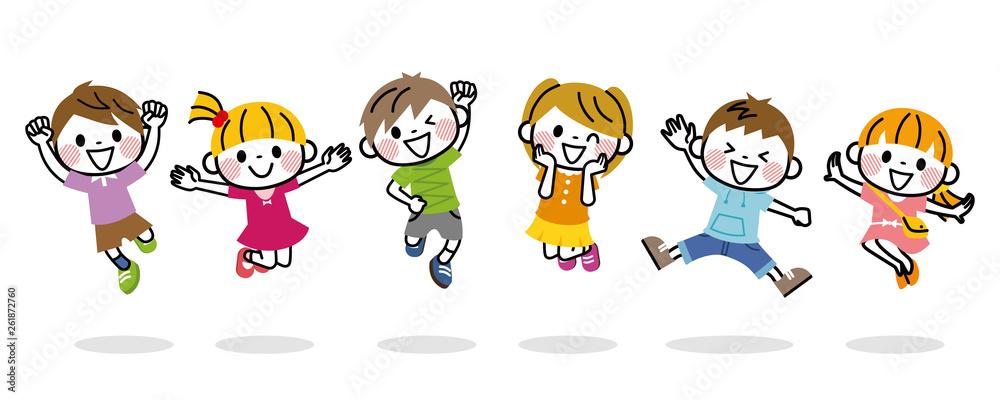 Fototapeta ジャンプする子供たち
