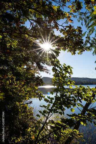Photo  Clear sunny day of a lake scene from Arkansas