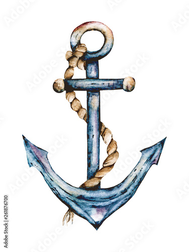 Anchor watercolor hand painting marine vintage design. Summer illustration, icon isolated on white background.