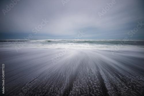 Valokuva  Monochromatic moody beach landscape