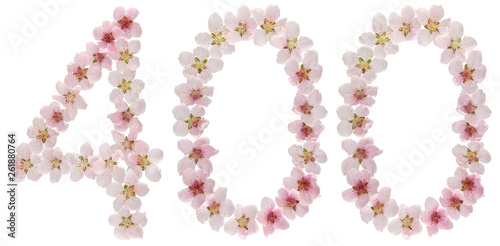 Papel de parede Numeral 400, four hundred, from natural pink flowers of peach tree, isolated on