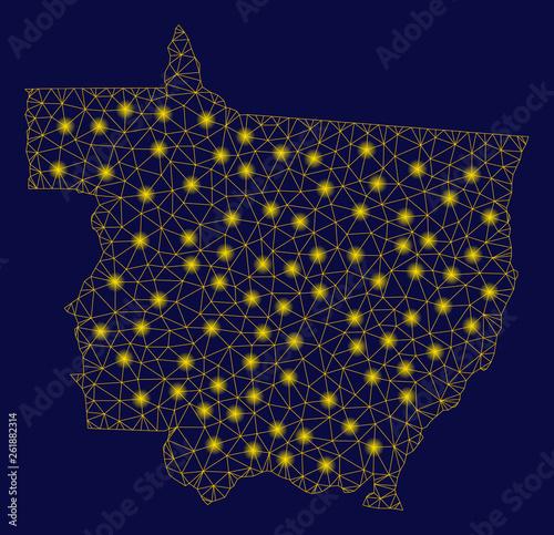 Fotografija  Bright yellow mesh Mato Grosso State map with glare effect
