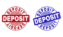 Grunge DEPOSIT Round Stamp Seals Isolated On A White Background. Round Seals With Distress Texture In Red And Blue Colors. Vector Rubber Imitation Of DEPOSIT Title Inside Circle Form With Stripes.