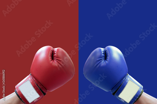 Carta da parati boxing glove in red and blue corner for fight and comparing the products