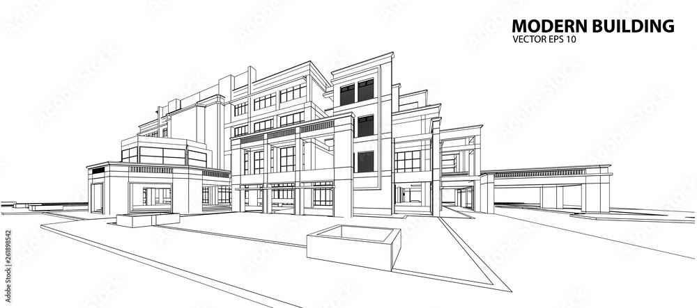 Fototapeta Perspective 3D render of building wireframe - Vector illustration
