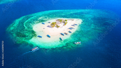 Ile Beautiful aerial view of Gili Kedis island