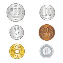 令和|新元号の硬貨のイラストセット 500円硬貨 100円硬貨 50円硬貨 10円硬貨 5円硬貨 1円硬貨|ベクターデータ