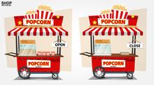 Popcorn Cart - Vector Illustra...