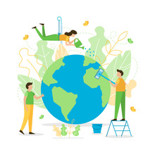People Care About Planet. Clean And Water It. The Concept Of The Earth Day. Flat Vector Illustration.