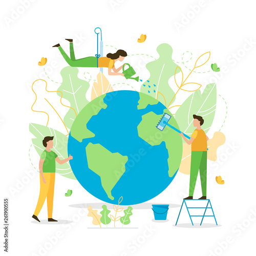 Fototapeta People care about planet. Clean and water it. The concept of the Earth day. Flat vector illustration. obraz