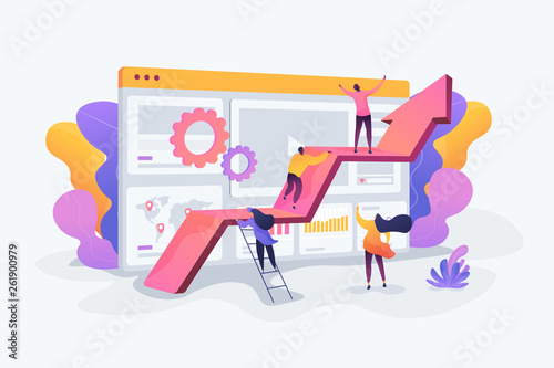Obraz Challenge move for success, confidence winning competition, motivation goals achievement concept. Vector isolated concept illustration with tiny people and floral elements. Hero image for website. - fototapety do salonu