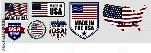 Photographie  set of made in usa label for retail product or fabric items