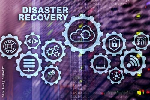 Fototapeta Big Data Disaster Recovery concept. Backup plan. Data loss prevention on a virtual screen. obraz na płótnie