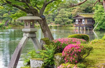 Stone Lantern in Japanese Garden Kenrokuen in Kanazawa, Japan