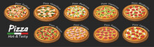 Set Of Flat Pizza Icons Isolated On Black. Vector
