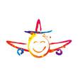Kolorowy uśmiechnięty samolot. Ikona wektor