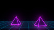 canvas print picture - 3d render of neon pyramid on grid background. Banner design. Retrowave, synthwave, vaporwave illustration. Party and sales concept