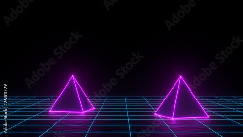 3d render of neon pyramid on grid background  Banner design