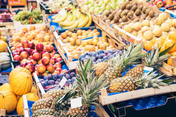 various colorful fresh fruits in the fruit market, Catania, Sicily, Italy.