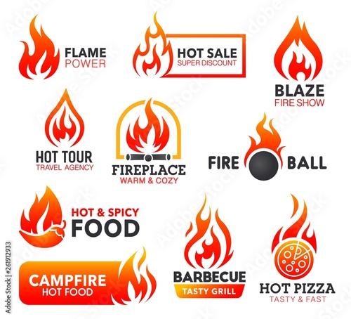 Keuken foto achterwand Eigen foto Fire flame icons of campfire, fireball and bonfire