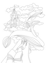 Cute Hand Draw Coloring Page With Dreaming Girl, Sitting With Book On A Wing Of Plane, Seing Flying Whales And Magic Castle Among Clouds. Dreaming Girl Coloring Page