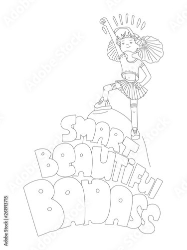 Cute Hand Draw Coloring Page With Brave Girl Feminist Zen