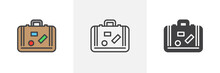 Travel Suitcase With Stickers Icon. Line, Glyph And Filled Outline Colorful Version, Baggage, Luggage Outline And Filled Vector Sign. Symbol, Logo Illustration. Different Style Icons Set.