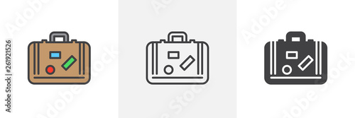 Travel suitcase with stickers icon Fototapet