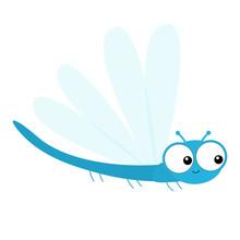 Dragonfly Icon. Cute Cartoon K...