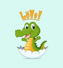 Cute Newborn Crocodile In The Egg Shell Vector Illustration.