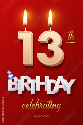 Photo Burning Birthday candles in the form of number 13 figure and Happy Birthday celebrating text with party cane isolated on red background