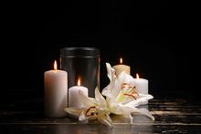 Mortuary Urn, Burning Candles ...