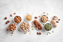 Various Nuts In Bowls