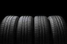 Car Tires On Dark Background