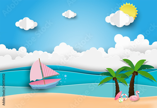 Wall Murals Green coral Hello Summer Beach Party,Paper art style.